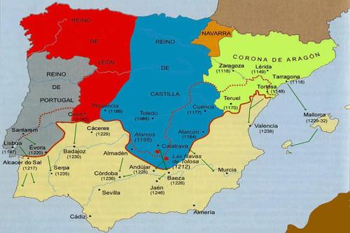 Карта средневековой Испании XIII век