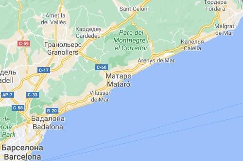 Коста Дель Маресме курортное побережье Испании карта