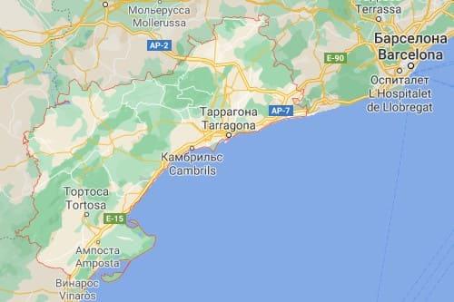 Коста Дорада курортное побережье Испании карта