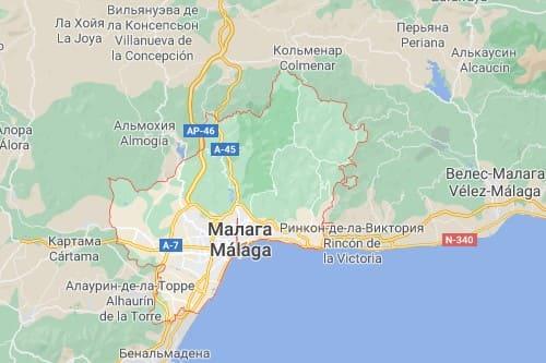 Малага карта