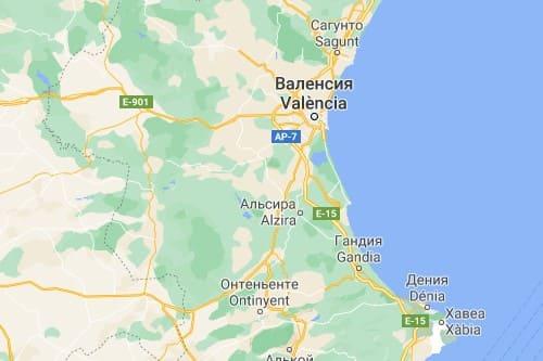 Коста де Валенсия карта