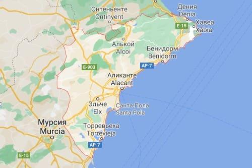 Коста Бланка курортное побережье Испании карта